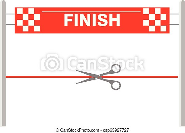 more photos 435fa 0a7a7 Red ribbon finishing line. Finish. Vector illustration - csp63927727
