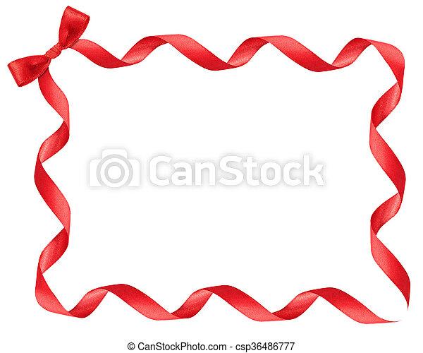 Red ribbon frame on white background.