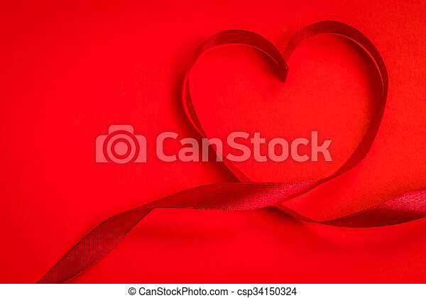 Red ribbon hearts on red background For Valentines day - csp34150324
