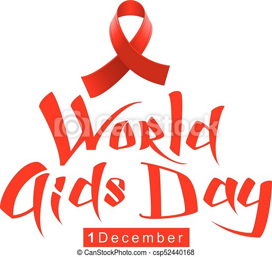 Red Ribbon Loop Symbol World Aids Day Handwriting Lettering
