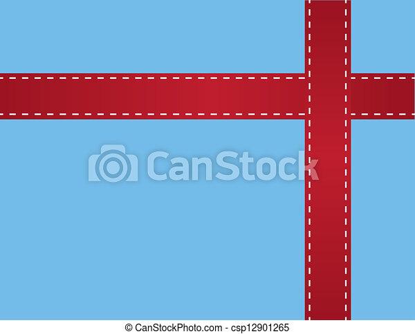 Red Ribbon Stitching Blue  - csp12901265