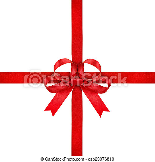 red ribbon with bow on isolated white background - csp23076810