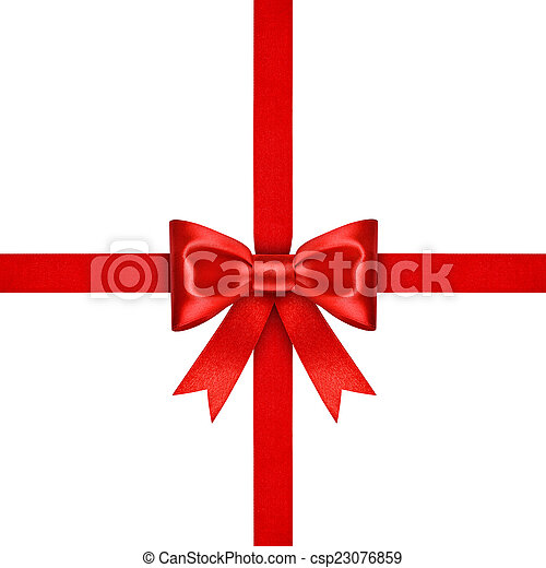red ribbon with bow on isolated white background - csp23076859