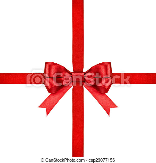red ribbon with bow on isolated white background - csp23077156