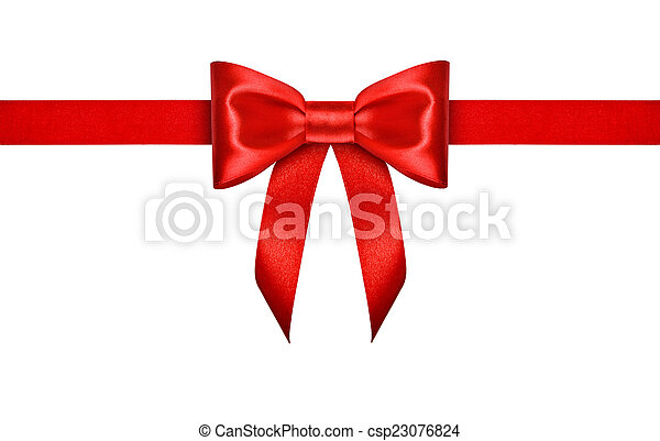 red ribbon with bow on isolated white background - csp23076824