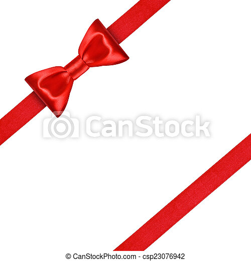 red ribbon with bow on isolated white background - csp23076942