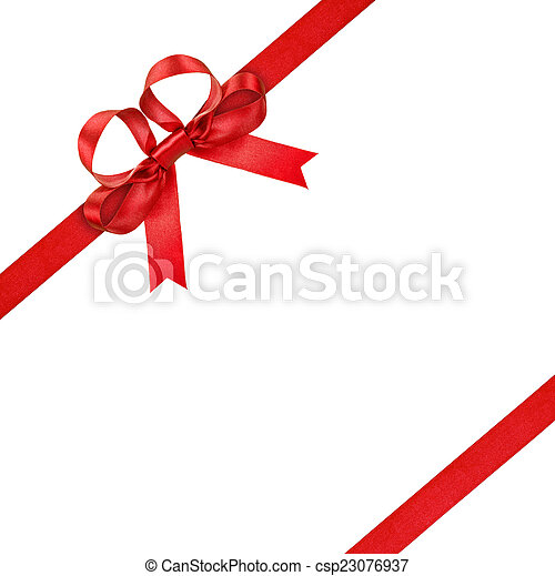 red ribbon with bow on isolated white background - csp23076937