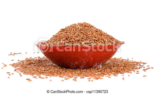 red rice in a brown - csp11390723