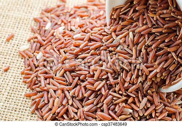 red rice in a white bowl. - csp37483649