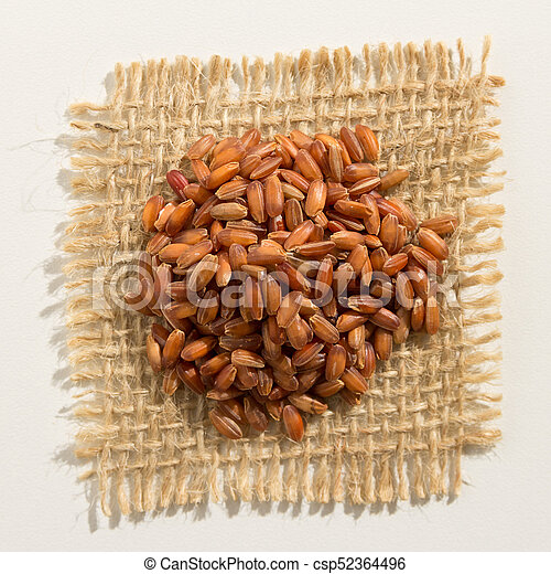 Red Rice seed. Close up of grains over burlap. - csp52364496