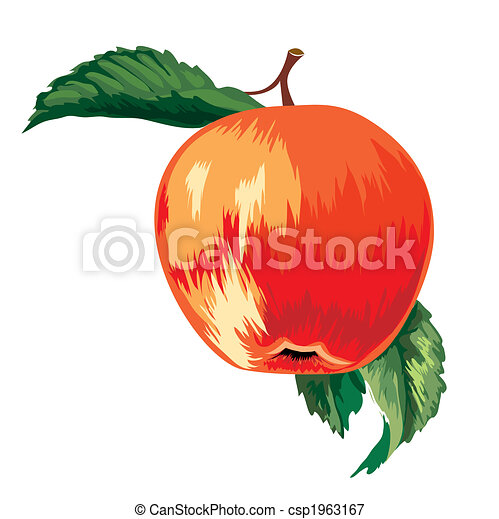 Red Ripe Apple With Leaves - csp1963167