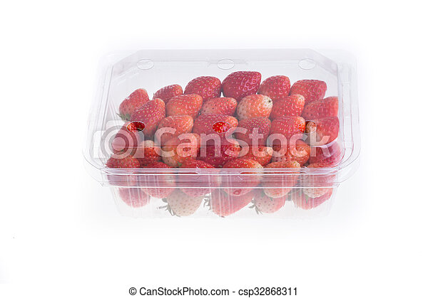 red ripe strawberry in plastic box of packaging - csp32868311