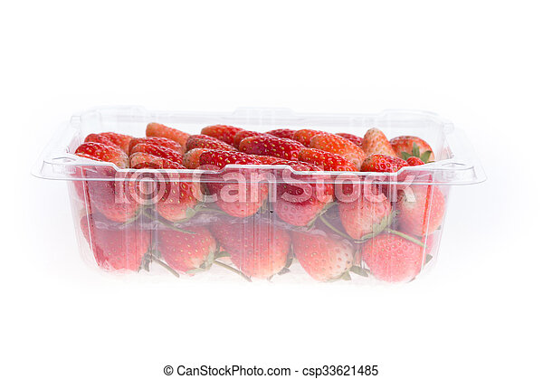 red ripe strawberry in plastic box of packaging - csp33621485