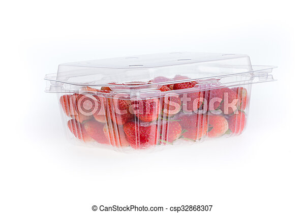 red ripe strawberry in plastic box of packaging - csp32868307