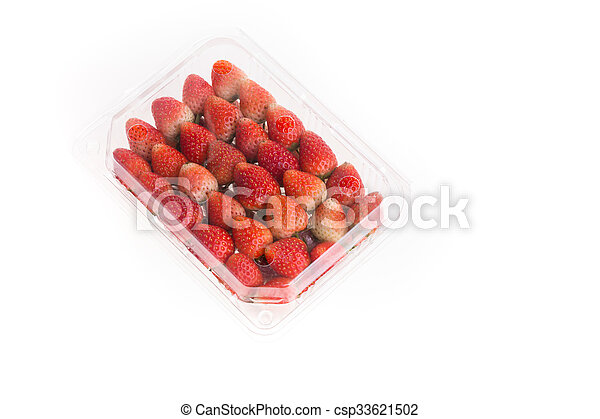 red ripe strawberry in plastic box of packaging - csp33621502