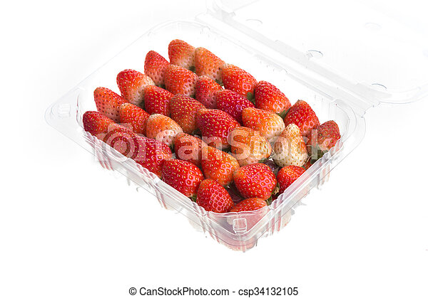red ripe strawberry in plastic box of packaging - csp34132105