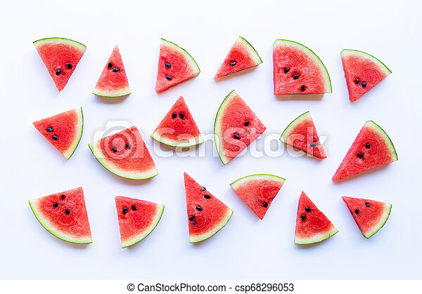 Red ripe watermelon sliced on a white background. - csp68296053