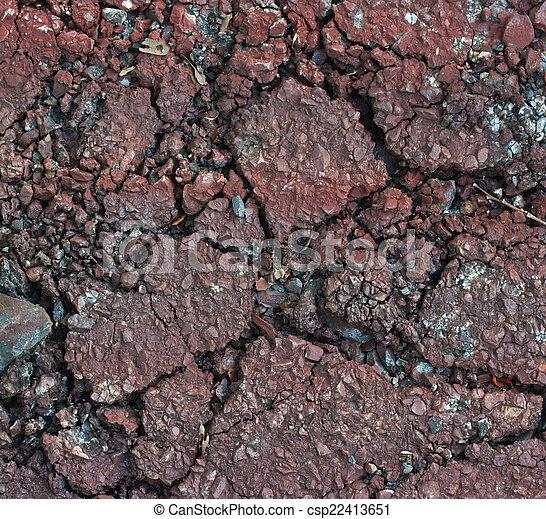 Red road crack texture - csp22413651
