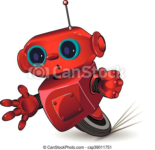 Red robot speed in a bend - csp39011751