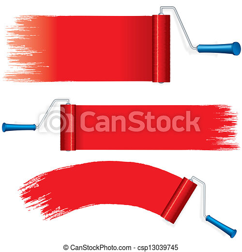 Red Roller Brush Painting Strokes on Wall  Vector