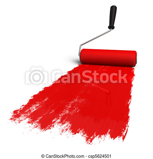 Red roller brush with trail of pain - csp5624501