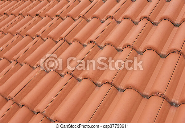Brick Roof Texture close-up of roof tiles. red roof texture.