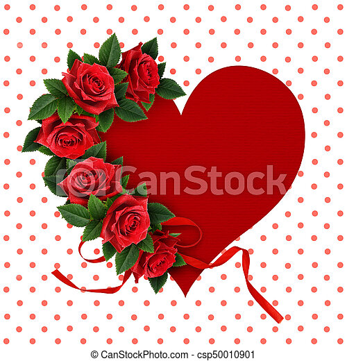 Red rose flowers on heart shape paper card red rose flowers and red rose flowers on heart shape paper card csp50010901 mightylinksfo