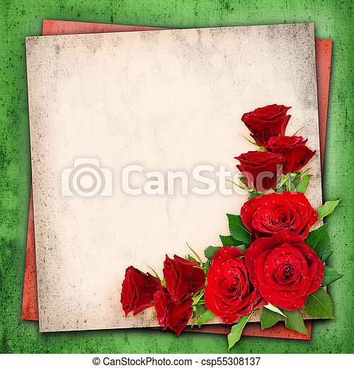 red rose flowers on vintage background red rose flowers in a corner