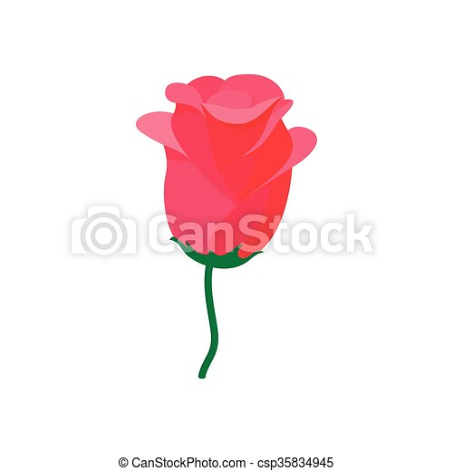 Red rose icon, cartoon style - csp35834945
