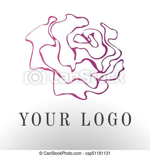 Red Rose Logo Vector Illustration Emblem Design On White
