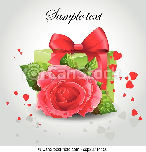 Red rose with a green box - csp23714450
