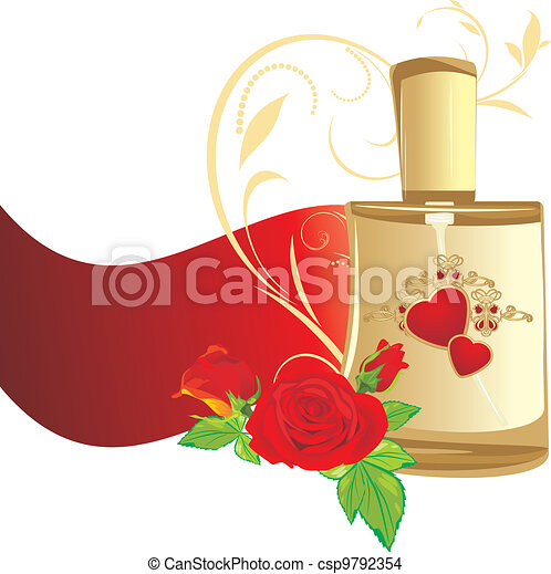 Red roses and perfume for woman - csp9792354