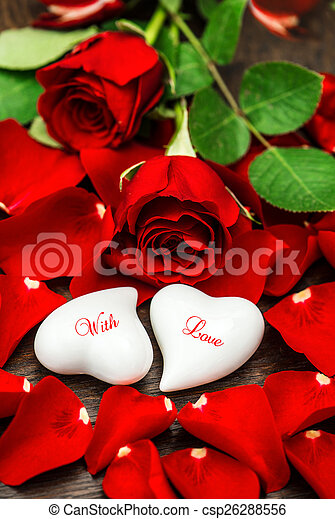 Red roses and two white hearts. valentines day. with love. Red roses and two white hearts. valentines day decoration. sample text with love.