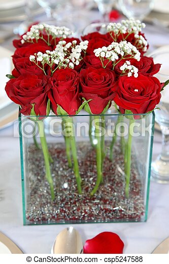 Red Roses Flower Arrangement - csp5247588 & Red roses flower arrangement. Red roses arranged in a square vase on ...