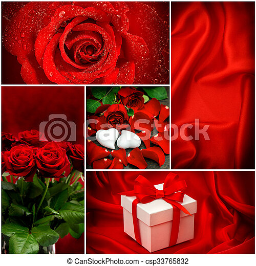 Red Roses Hearts Gift Box Valentines Day Concept