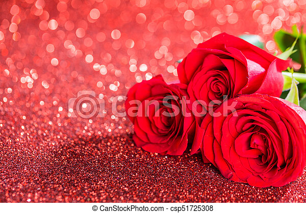 Red Roses On Glitters Three Beautiful Red Roses On Glitter Background