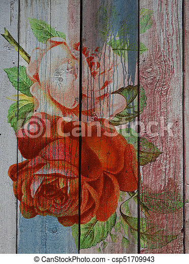 Red roses pattern on a wood background - csp51709943