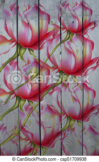 Red roses pattern on a wood background - csp51709938