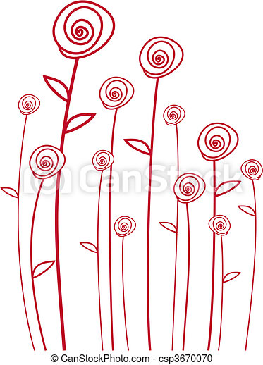 red roses, vector - csp3670070