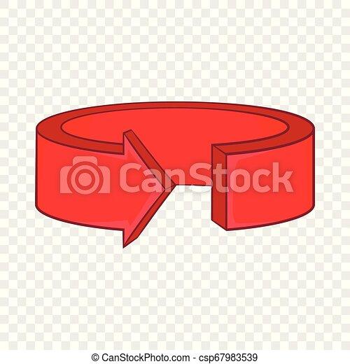 Red round arrow icon, cartoon style - csp67983539