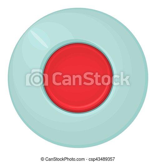 Red round button icon, cartoon style - csp43489357