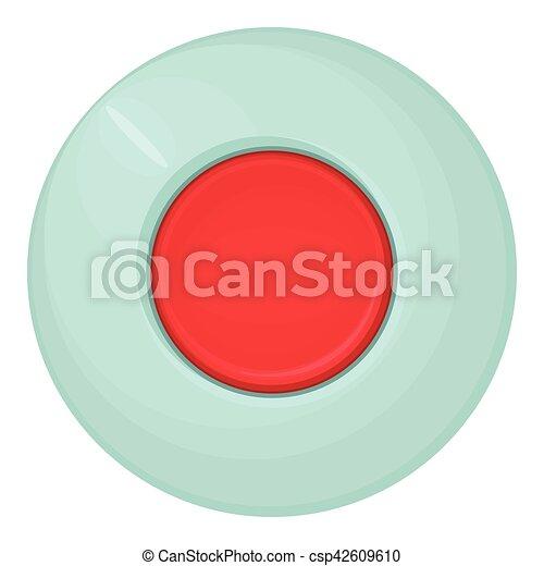 Red round button icon, cartoon style - csp42609610