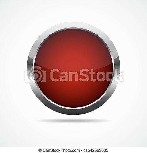 Red round button. illustration. - csp42563685