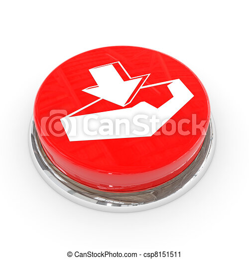 Red round button with download sign. - csp8151511