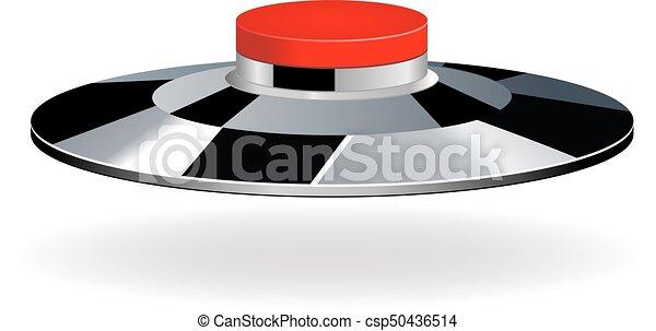 Red round button with metallic border - csp50436514