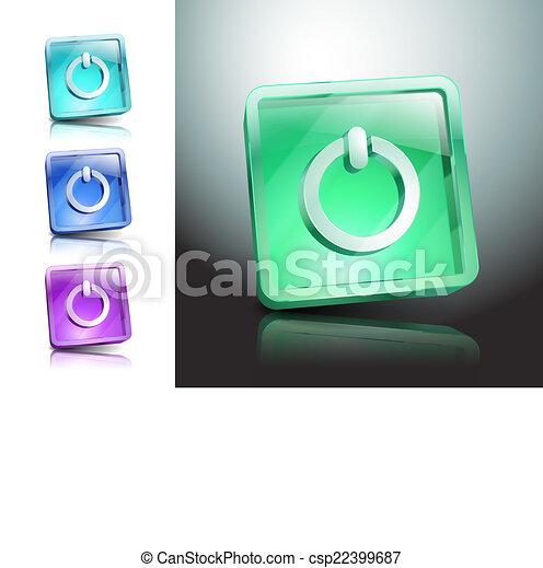 Red round button with start icon - csp22399687