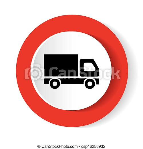 Red round button with truck icon - csp46258932