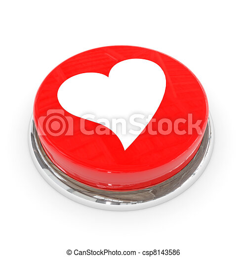 Red round button with white heart. - csp8143586