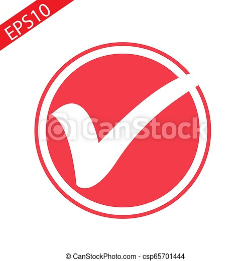 Red round checkbox icon vector illustration isolated on white background - csp65701444