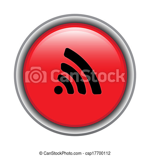 Red round glossy icon - csp17700112